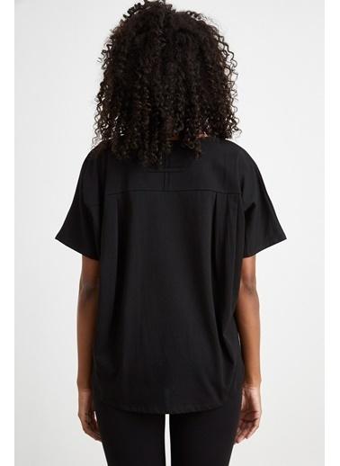 Curly Siyah, Yırtık Detaylı T-Shırt Siyah